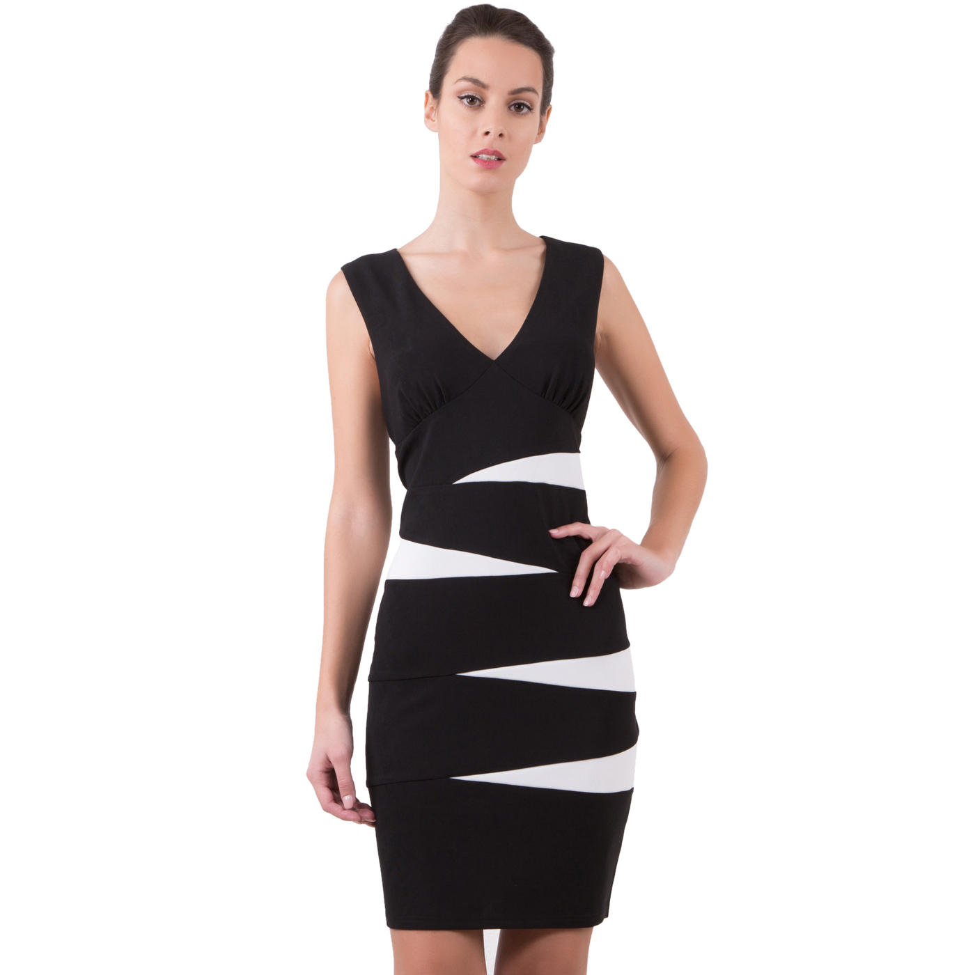 Robe longue noir et blanc pas cher robe longue for Portillon noir pas cher